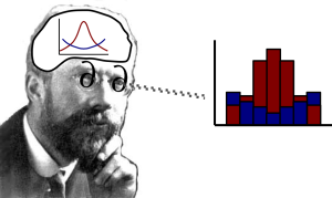 (Non-) Artistic depiction of how Fisher interpreted gene frequency distributions as continuous diffusion processes.